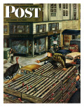 """Turkey Loose Atop Truck "" Saturday Evening Post Cover  November 27  1948"