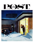 """Late for Party Due to Snow "" Saturday Evening Post Cover  January 27  1962"