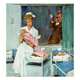 """Father Takes Picture of Baby in Hospital "" March 11  1961"