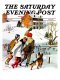 """Ice-Skating in the Country "" Saturday Evening Post Cover  December 1  1971"