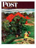 """Apple Picking Time "" Saturday Evening Post Cover  September 27  1947"