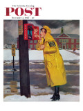 """Crossing Guard Fixing Her Makeup "" Saturday Evening Post Cover  December 3  1960"