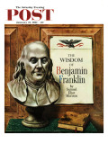 """Benjamin Franklin  bust "" Saturday Evening Post Cover  January 21  1961"