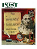 """Benjamin Franklin - bust and quote "" Saturday Evening Post Cover  January 16  1960"