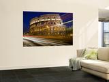 Traffic Trails and Collosseum (Colosseo) at Night from Via Dei Fori Imperiali