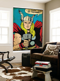 Marvel Comics Retro: Mighty Thor Comic Panel; God of Thunder! Holding Hammer (aged)
