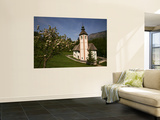 The Holy Spirit Church with Apple Tree in Blossom  Near Southern Shore of Lake Bohinj