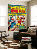 Marvel Comics Retro: The Invincible Iron Man Comic Book Cover 58  Facing Captain America (aged)