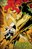 Marvel Comics Retro: X-Men Comic Panel  Phoenix  Emma Frost  Fighting (aged)