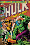 Marvel Comics Retro: The Incredible Hulk Comic Book Cover No181  with Wolverine (aged)