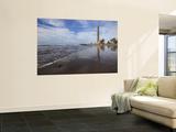 Maspalomas Beach with Maspalomas Lighthouse (Faro De Maspalomas) Reflected in Wet Sand