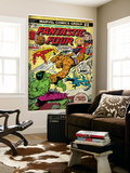 Marvel Comics Retro: Fantastic Four Family Comic Book Cover 166  Thing Vs Hulk (aged)