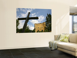 Cross and Herbst Castle in Dolomites Mountains