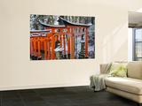 Orange-Red Gates (Tori) Lining Pathways of Fushimi-Inari-Taisha Shrine