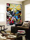 Infinity Gauntlet 6 Cover: Adam Warlock  Thanos  Nebula  Silver Surfer  Hulk and Thor Fighting