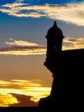Silhouette of El Morro Fort  San Juan  PR