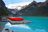 Canoes of Lake Louise  Alberta  Canada