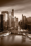 Chicago City View Afternoon BW