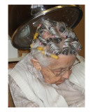 Old Woman Under Hair Dryer