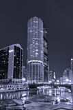 Marina City on the Chicago River BW