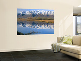 Wellsville Mountains Reflected in Little Bear River in Early Spring  Cache Valley  Utah  USA
