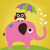 Elephant and Owl with Umbrella