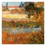 Jardin fleuri a Arles (Détail) Reproduction d'art par Vincent Van Gogh