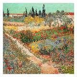 Jardins En Fleurs Avec Sentier Reproduction d'art par Vincent Van Gogh