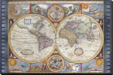 Antique Map, New Map of the World, 1626 Tableau sur toile par John Speed