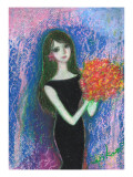 Woman of Black Dress Holds Bouquet