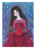 Woman of Red Dress at Night