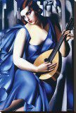 Femme en Bleu Avec Guitare