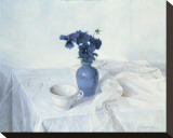 Pansies in a Blue Vase