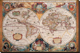 Antique Map  Geographica  Ca 1630