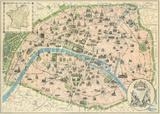 Vintage Paris Map Reproduction d'art par The Vintage Collection