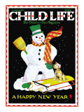 Snowman & Dog - Child Life  January 1935