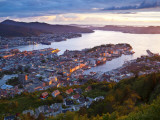 Elevated View over Central Bergen Illuminated at Sunset  Bergen  Hordaland  Norway