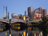 Australia  Victoria  Melbourne; Princes Bridge on the Yarra River  with the City Skyline at Dusk