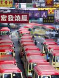 Mini-Buses Parked on Fa Yuen Street  Mong Kok  Kowloon  Hong Kong  China