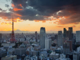 Tokyo Tower and Mt; Fuji from Shiodome  Tokyo  Japan