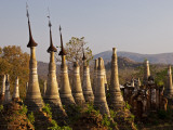 Myanmar  Burma  Inle Lake; Ancient Buddhist Shrines  Stupas and Pagodas at Shwe Inn Thein Paya