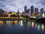 Australia  Victoria  Melbourne; Yarra River and City Skyline by Night