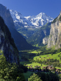 Switzerland  Bernese Oberland  Lauterbrunnen Town and Valley
