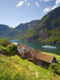 Elevated View over Otternes Bygdetun  Aurlands Fjord  Sogn Og Fjordane  Norway