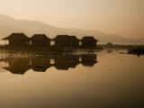 Myanmar  Inle Lake; a Misty Dawn at Golden Island Cottages