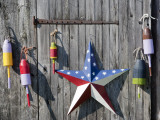 Fishing Buoys on the Side of a Barn in New Hampshire  Usa