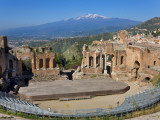 The Greek Theatre and Mount Etna  Taormina  Sicily  Italy