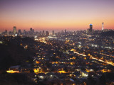 View of Johannesburg Skyline at Sunset  Gauteng  South Africa