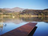 Fishing Boat on Lake and Drakensberg Mountains  Ukhahlamba-Drakensberg Park  Kwazulu-Natal