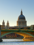 Uk  London  St; Paul's Cathedral and Canon Street Railway Bridge across River Thames from Southwark
